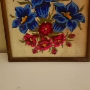 Vintage embroy framed flower
